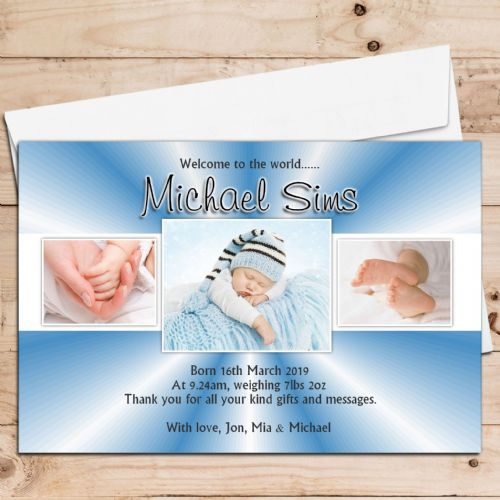 10 Personalised Baby Boy Birth Announcement Thank You PHOTO Cards N73